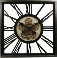 Teeninga Palmen Klokken - Wandklok 'open'-uurwerk/cijfers Dia54,5x7cm Vierk. Antic Zwart