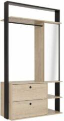 Naturelkleurige Gamillo Furniture Open kledingkast Duplex 115 cm breed in naturel kastanjehout