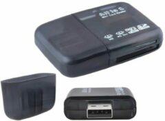 Zwarte Mini USB Card Reader All In One - kaartlezer voor o.a. Micro SD & SD