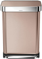 Roze Simplehuman Rectangular Brushed Steel Pedal Bin with Liner Pocket - Rose Gold 55L