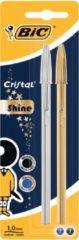 Bic balpen Cristal Shine, blister met 2 stuks (goud en zilver)