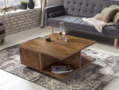 Wohnling Couchtisch MUMBAI Massiv-Holz Sheesham 88 cm breit Wohnzimmer-Tisch Design dunkel-braun Landhaus-Stil Beistelltisch