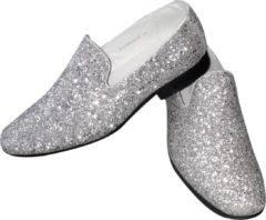 CHIAMAX Toppers, heren glitter schoen, zilver