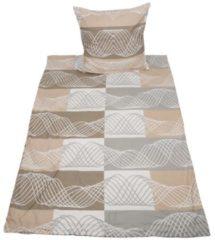 SEASTAR Biber Bettwäsche beige-grau mit Streifen, 2-teilig