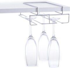 1x Zilver wijn/champagneglas houders voor aan plank voor 4 glazen 28 cm - Zeller - Keukenbenodigdheden - Woonaccessoires/decoratie - Wijnglashouder/champagneglashouder voor aan een plank - Rek/houder voor wijnglazen