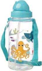 Lichtblauwe Drinkfles met rietje zeedieren - Puckator