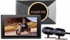 Zwarte Motocam E7 2CH Dual Wifi Vsysto motor dashcam