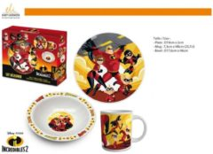 Rode Easy Licences International 3 delige ontbijt / lunch set The Incredibles (keramiek)