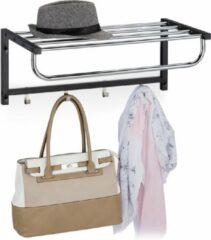Zwarte Relaxdays wandkapstok met plank - kapstok voor de muur - wandgarderobe - handdoekhouder