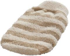 Naturelkleurige Foster Massage handschoen gestreept linnen / katoen