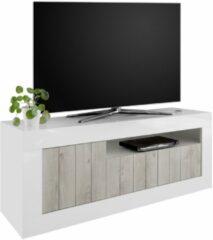 Pesaro Mobilia Tv-meubel Urbino 138 cm breed in hoogglans wit met grenen wit