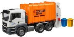 BRUDER® speelgoed-vuilniswagen, MAN TGS vuilniswagen met achterlader, 1:16, oranje