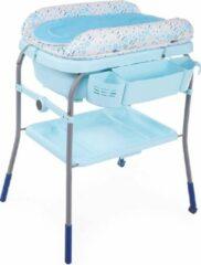 Lichtblauwe Chicco Cuddle & Bubble Verzorgingstafel - Babybadje met standaard - Luiertafel - Verschoontafel - Verstelbare hoogtes