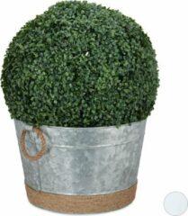 Zilveren Relaxdays bloempot rond - ijsemmer - plantenpot - metalen bloem pot - 30 liter - 40 cm Zink