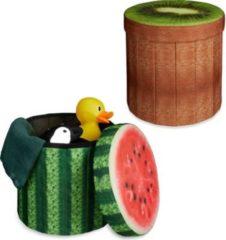 Relaxdays 2x Sitzhocker rund Sitzwürfel Falthocker Klapphocker mit Stauraum Melone Kiwi