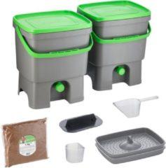Grijze Skaza Exceeding Expectations Skaza Bokashi Organko keukencompostbak van gerecycled plastic | 2x 16 L | Starter Set voor keukenafval en compostering | met EM zemelen 1 kg