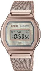 Casio horloge A1000MCG-9EF Meshband Vintage zilverkleurig 38 mm