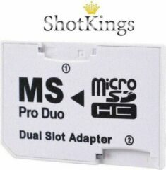 Witte Shotkings Micro SD naar Memory Stick Pro Duo geheugenkaart adapter voor o.a. PSP of camera