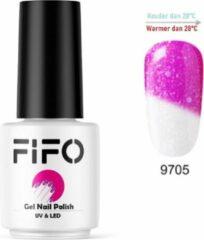 FIFO Nails, Thermo Gel Polish - Glitter - Kristal - Thermo Gellak - Temperatuurgevoelige nagellak - Thermische nagellak - Temperatuur veranderende - Kleur veranderende #9705 ( Roze - Wit ) ( Glitter) - UV & LED