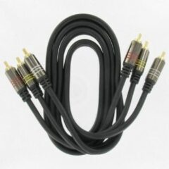 Kopp audio/video kabel met 2x 3 Tulp stekkers 1,5m