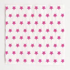 My Little Day Papieren servetten, wit met roze sterren