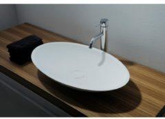 Ideavit Solidjazz opbouw wastafel 70x40x9cm ovaal 0 kraangaten 1 wasbak Solid surface wit 278600