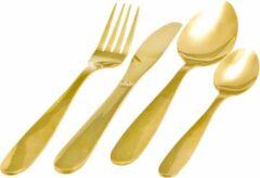 Goudkleurige Merkloos / Sans marque 16-delige RVS bestekset hoogglans goud 4 personen - Tafelbestek voor ontbijt lunch en diner