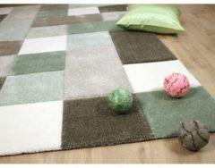 Designer Teppich Maui Pastell Grün Beige Karo Pergamon Grün