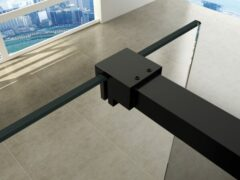 Zwarte Wiesbaden Slim profielset met stabilisatiestang 120cm mat zwart 20.3467
