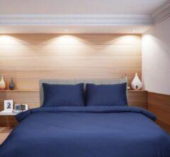 Blauwe Deco Milano, Dekbedovertrek , hoog kwaliteit 100% Katoensatijn, NIGHT BLUE, Gestreept, 140 x 220 1X kussenslopen