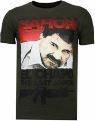 Groene Local Fanatic Cocaine Cowboy - Rhinestone T-shirt - Khaki - Maten: XL