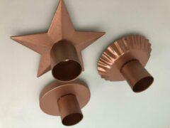 Bronze ''merkloos'' Kaarsen standaard set ( 3 stuks )