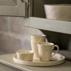 Creme witte Costa Nova - servies - theekop en schotel Lagoa creme - aardewerk - set van 6 - H 6 cm