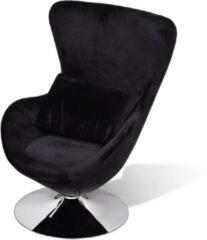Zilveren VidaXL Kleine draaibare designfauteuil met kussen (zwart)