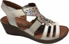 Manlisa dames elastiek sandaal S245-535 beige mt 36