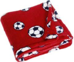 Playshoes fleecedeken voetbal 75 x 100 cm rood