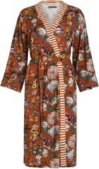 Bruine Essenza Valt normaal Essenza Home Dames Nachtmode kimono Maat M