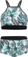 Grijze La V Bikini hipster broekje en crop top met racerback - Jungle bloemen 116-122