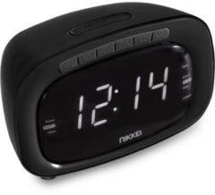 Nikkei NR200BK - Wekker met radio en buzzer - Zwart