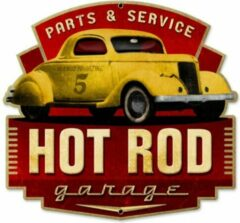 Rode Bennies Fifties Hot Rod Garage Parts and Service Zwaar Metalen Bord 42 x 40 cm