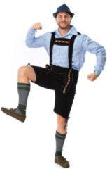 Blauwe Original Replicas Boeren Tirol & Oktoberfest Kostuum | Zwarte Korte Bierfeest Lederhose Met Shirt Oktoberfest Bier Munchen | Man | XXL | Bierfeest | Verkleedkleding
