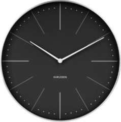 Zwarte Karlsson Wall clock Normann station black, brushed case