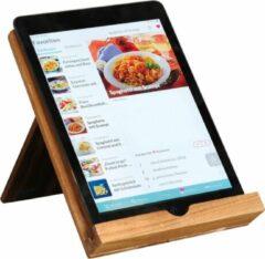 Bruine Merkloos / Sans marque Kookboekstandaard/tablethouder acacia hout 23 x 18 x 19 cm - Kookboekenstandaard/kookboekenhouder - Keukengadgets