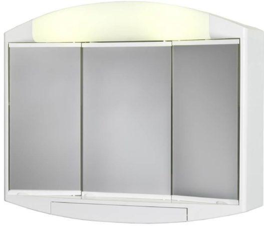 Afbeelding van Witte Allibert KALY - toiletkast - 3 spiegeldeuren - wit kunststof - 1 UTE (conform BEL) stopcontact - 1 verlichtingsschakelaar - 59 cm breed