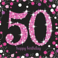 Partywinkel Servetten 50 Jaar Happy Birthday Roze 33x33cm 16 stuks