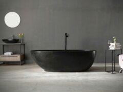 Mawialux vrijstaand bad | Solid surface | 185x85cm | Mat zwart | ML-108-VBMG-MZ