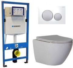 Douche Concurrent Geberit UP 320 Toiletsets - Inbouw WC Hangtoilet Wandcloset - Shorty Flatline Sigma-20 Wit Mat Chroom