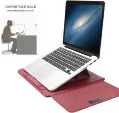 Bordeauxrode Ntech New Macbook Air 2018 13.3 Inch Sleeve 4 piece set Spatwater proof Hoes met handvat - Bordeaux