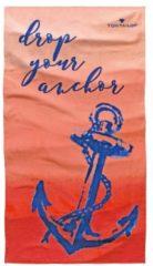 Rosa Tom Tailor Casual Strand-Handtuch mit Schriftzug, Unisex, coralle, Größe: 85/160