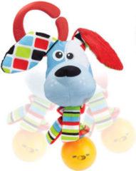 Yookidoo rammelaar Shake Me Rattle Dog 16 cm pluche lichtblauw